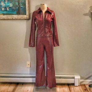 Vintage 1980s Glam Rock Pant Suit Reptile Fabric